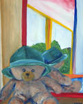 Bear With Hat Front Of Mirror