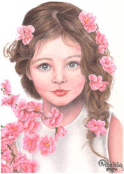 Girl and flowers by RainbowNatalia
