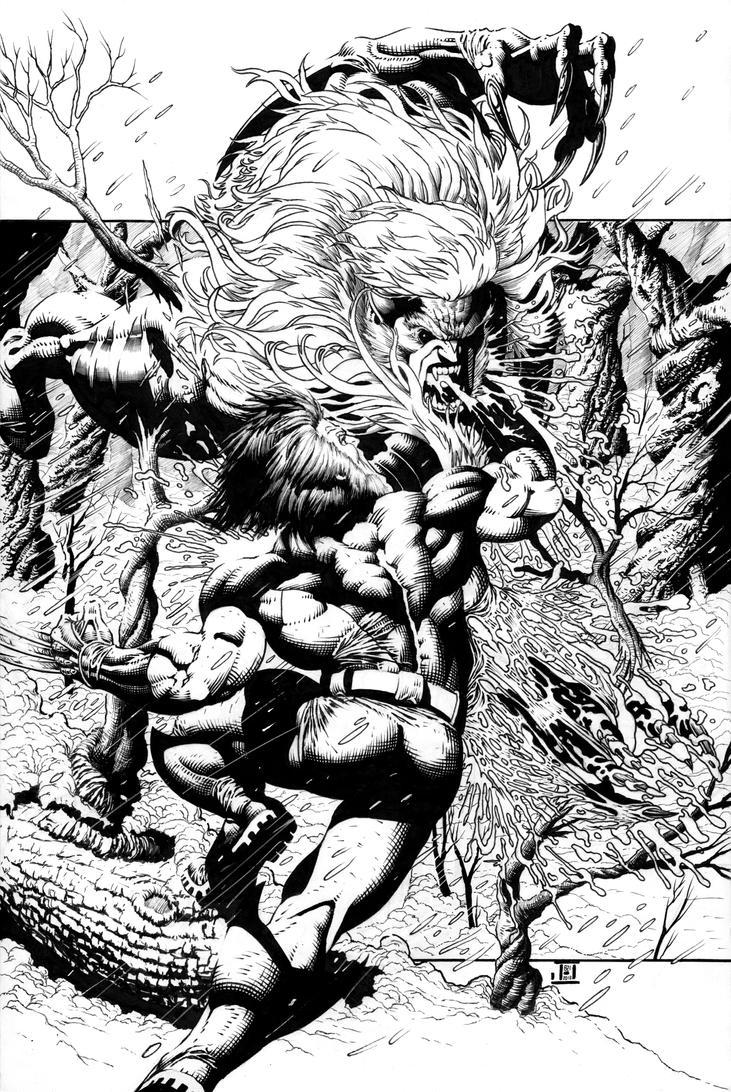 Wolverine vs Sabretooth Inks by jeffreyedwards