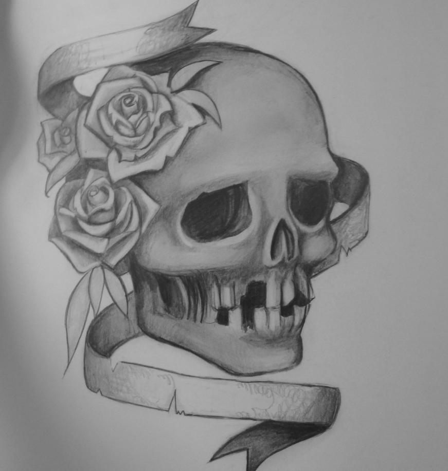 Skull with roses and b...