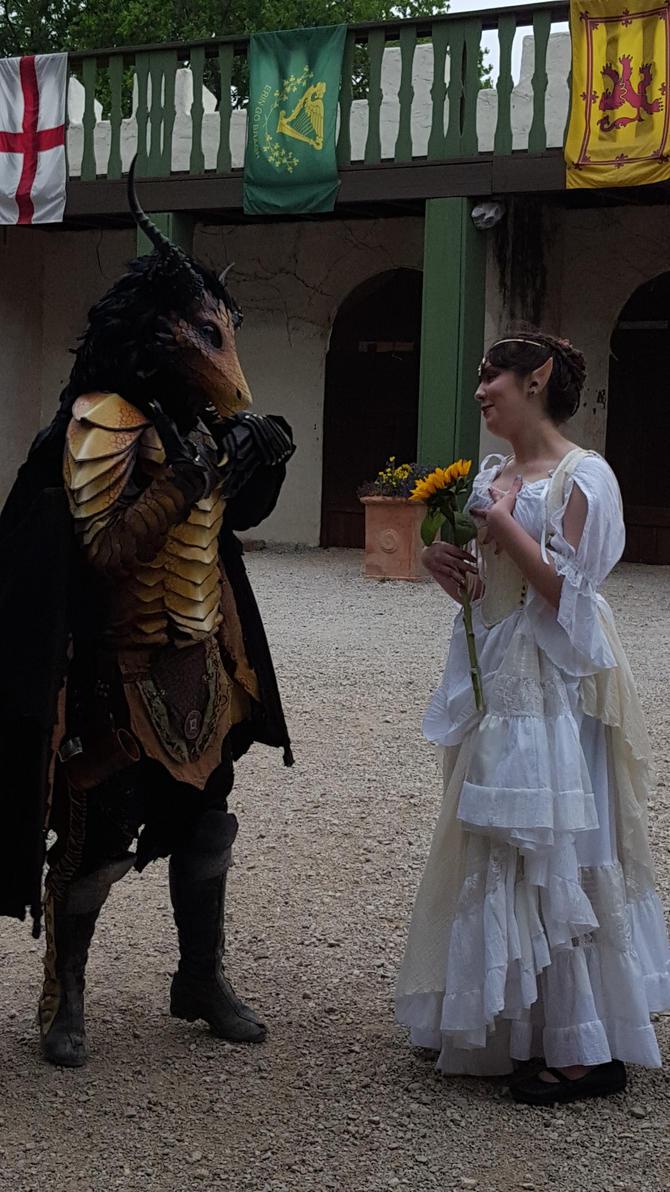 The elf queen and the golden dragon by tfakairi