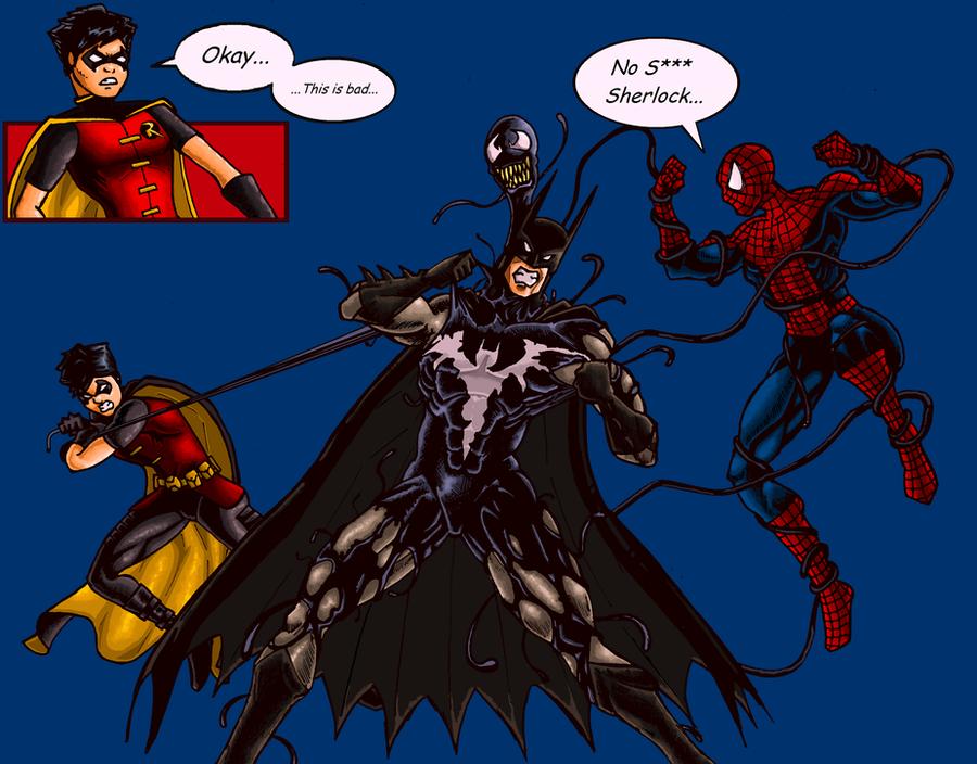 Venomous Bat Starring Batman Robin and Spidey by