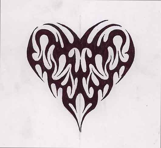 Tribal Heart With Banner tatto body insi...