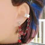 Red Rose Cartilage Ear Cuff