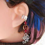 Red and Silver Dragon Ear Cuff