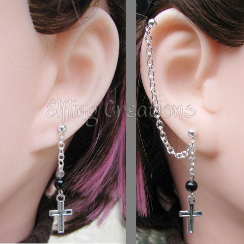 Black and Silver Cross Cartilage Chain Earrings by merigreenleaf ...