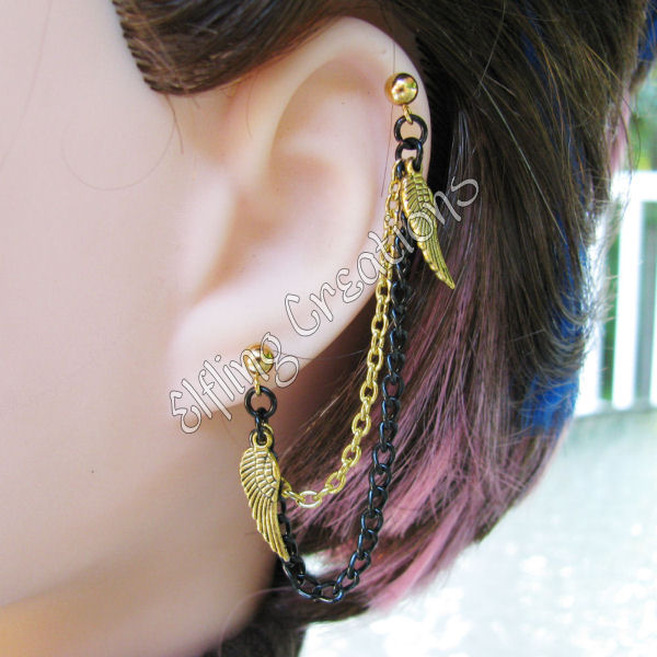 Gold and Black Wing Cartilage Chain Earring by merigreenleaf on ...