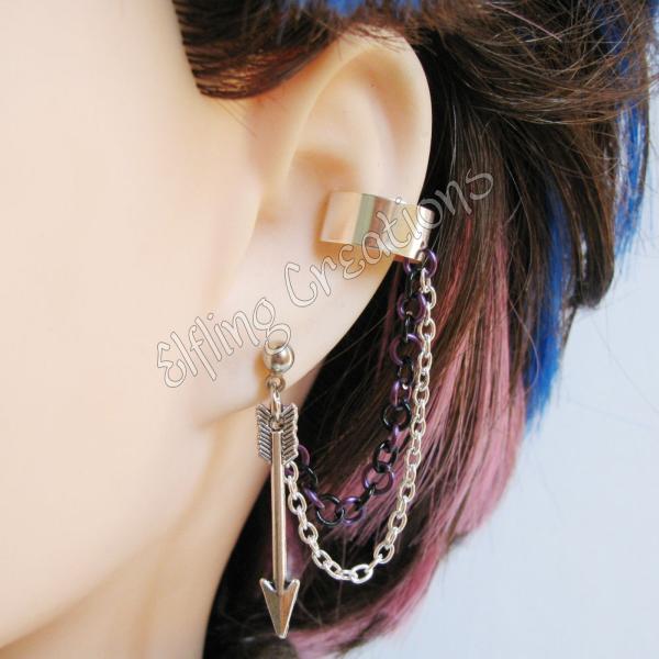 silver and purple arrow cartilage chain ear cuff by merigreenleaf
