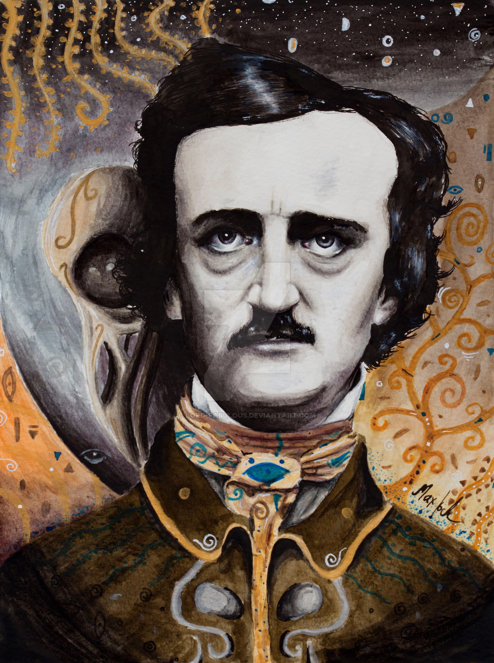 edgar allen poe the raven Once upon a midnight dreary, while i pondered, weak and weary, / over many a quaint and curious volume of forgotten lore / while i nodded, nearly napping, suddenly there came a.