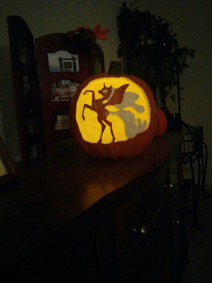 Nightmare Moon Pumpkin Lit by Punkerdragon