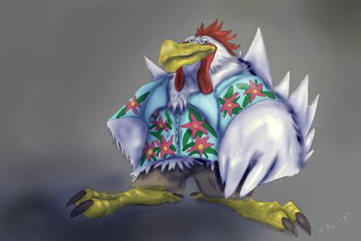 Chicken in a Hawaiian shirt
