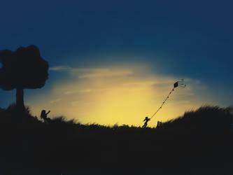 Sunset Kite Kid by littleweseth