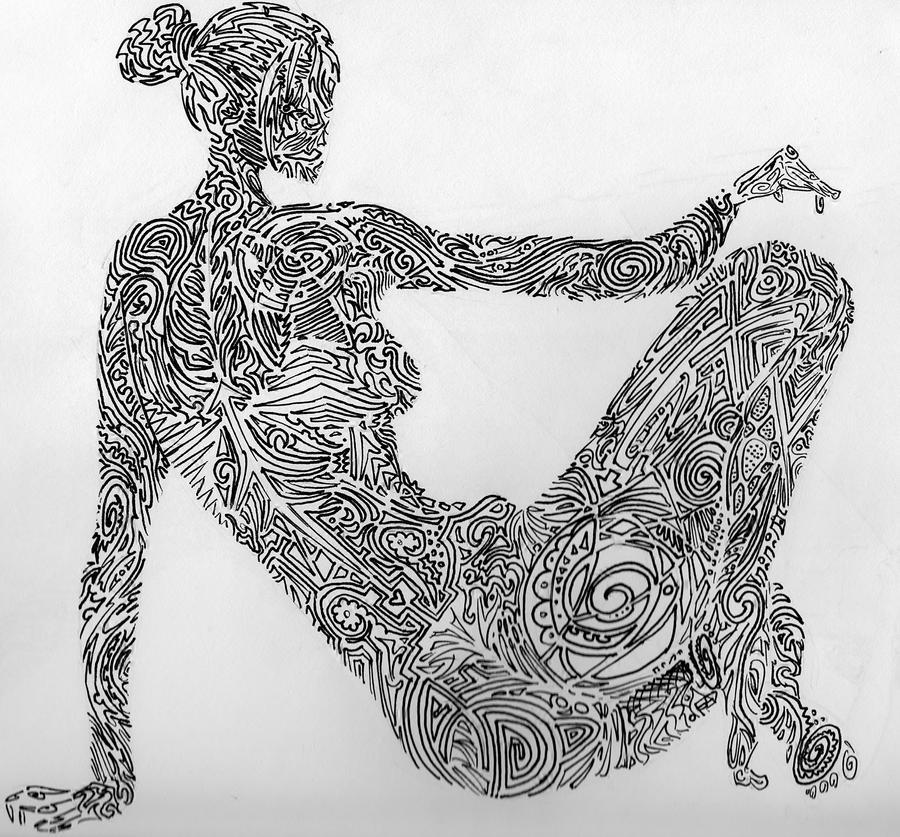 Line Art Figures : Line art female figure by arrowturtle on deviantart