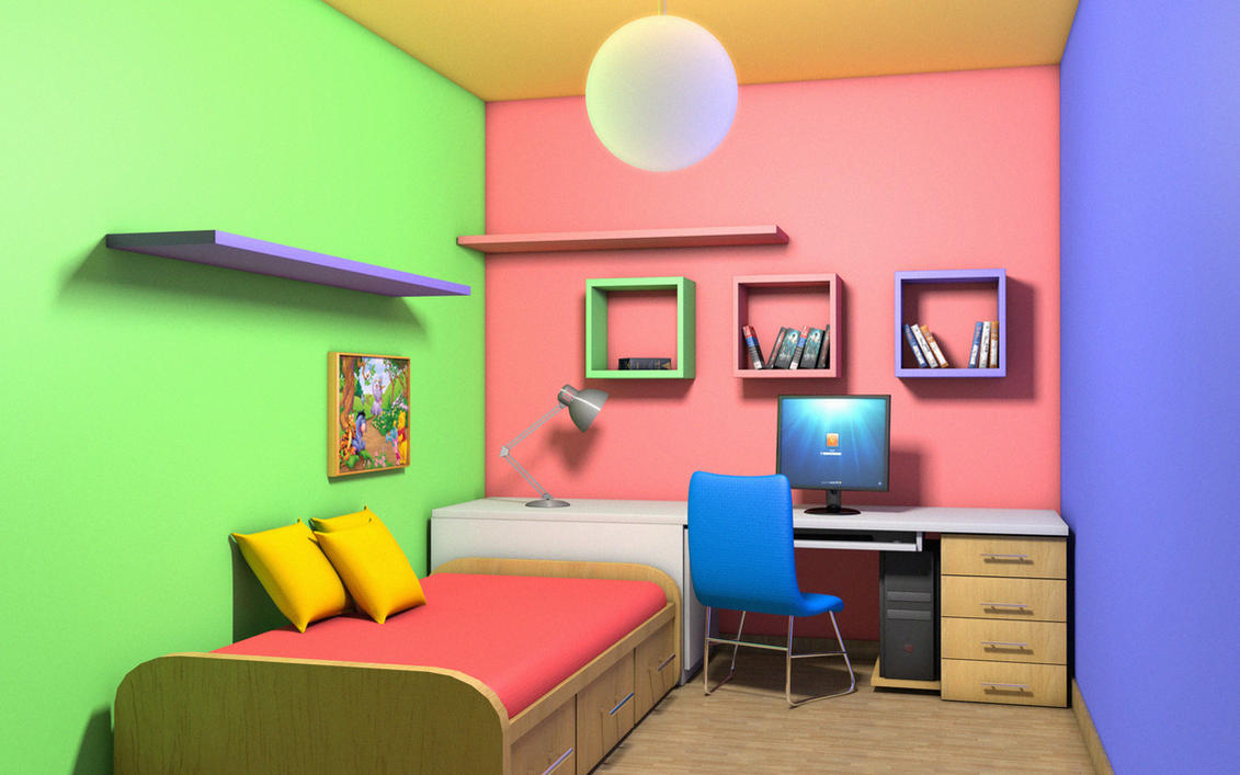 Colorful room interior by amitwati on deviantart for Kleuren interieur