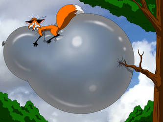 Fox Riding On Floating Balloon Gone Wrong by DoodleDan86