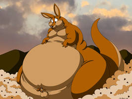 Kangaroo Gets Fat In Field Of Cookie Dough  by DoodleDan86