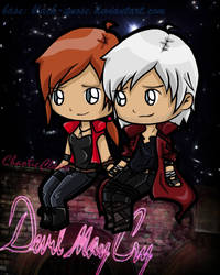 Chibis ~ Claire and Dante by ChaoticClaire