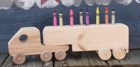 wooden tractor trailer crayon holder by carolinacountrycraft on