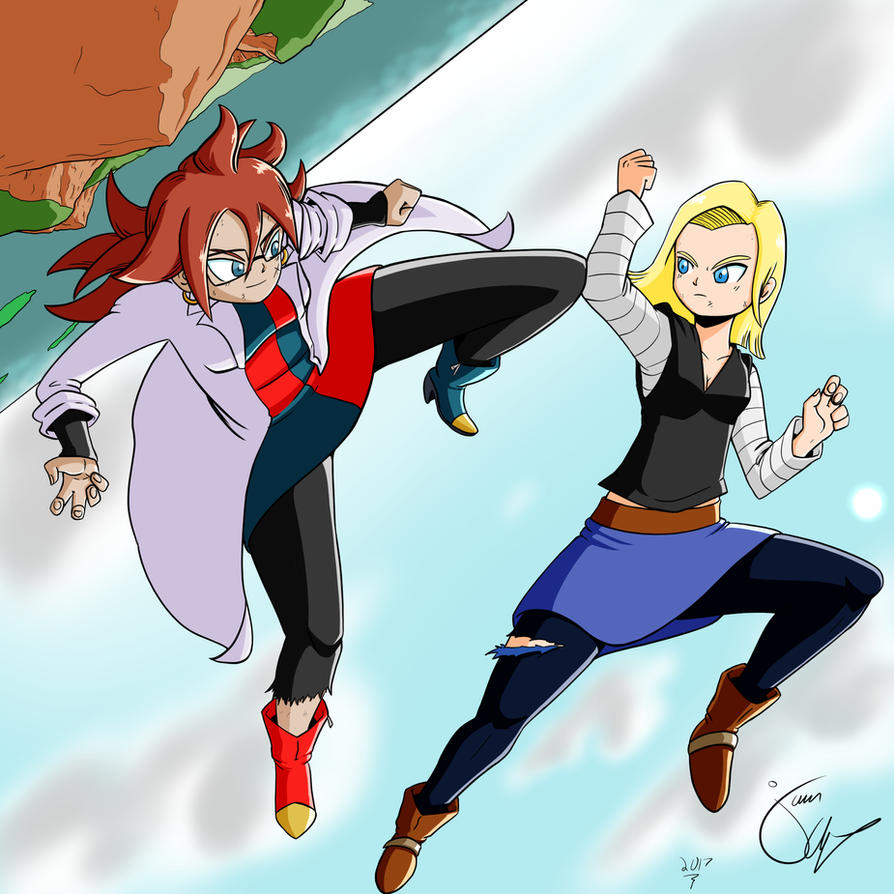 Android 18 And Tail Deviantart: Android 18 Vs Android 21 By Jkalsop On DeviantArt