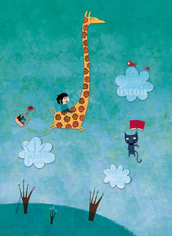 In the sky, a cat, a giraffe
