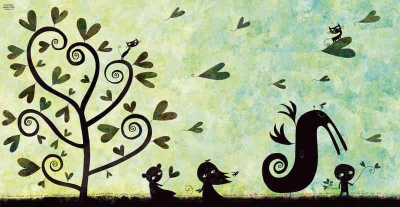 Hearts and birds by nicolas-gouny-art