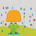 The little frog fears the rain