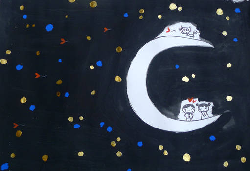 Pierrot, Pierrette and the running cat on the moon