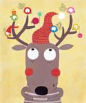 A reindeer as a Christmas' tree