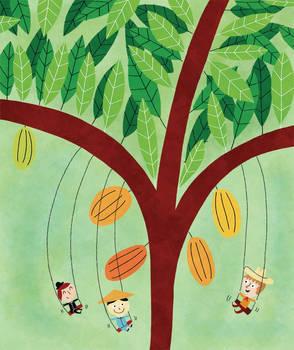 Swinging under the chocolate tree