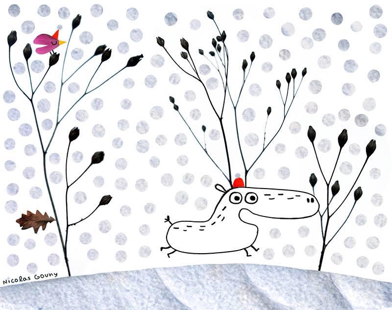 Reindeer in the snow by nicolas-gouny-art