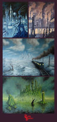 Guess the fictional countries on my paintings by RoyalDirtiesComics