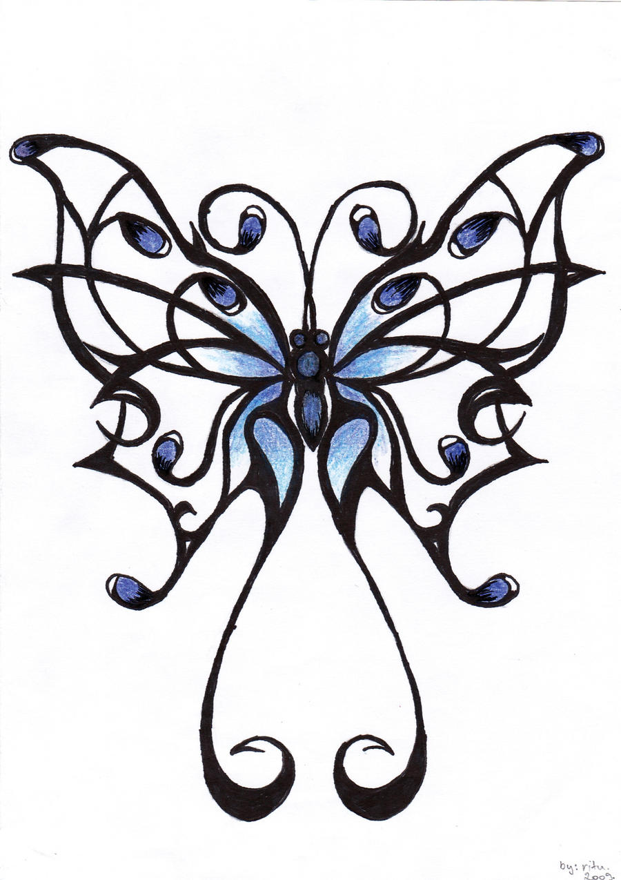 Tattoo 7 butterfly by ritubimbi on deviantart for Cool drawings of butterflies