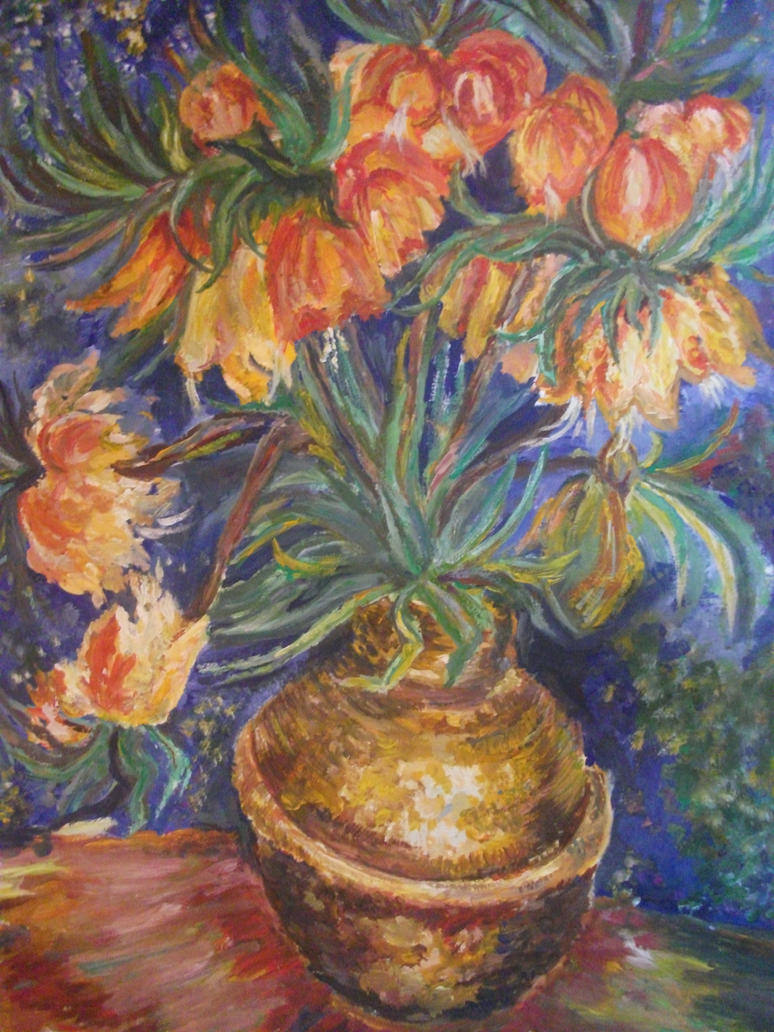 A copy of a painting by vincent van gogh flowers i by for Paintings to copy