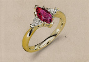 Gold Ruby Ring by Maaal-Art