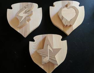 Cutie Mark Crusaders - Wood Cutie Mark Plaques by DataByteBrony