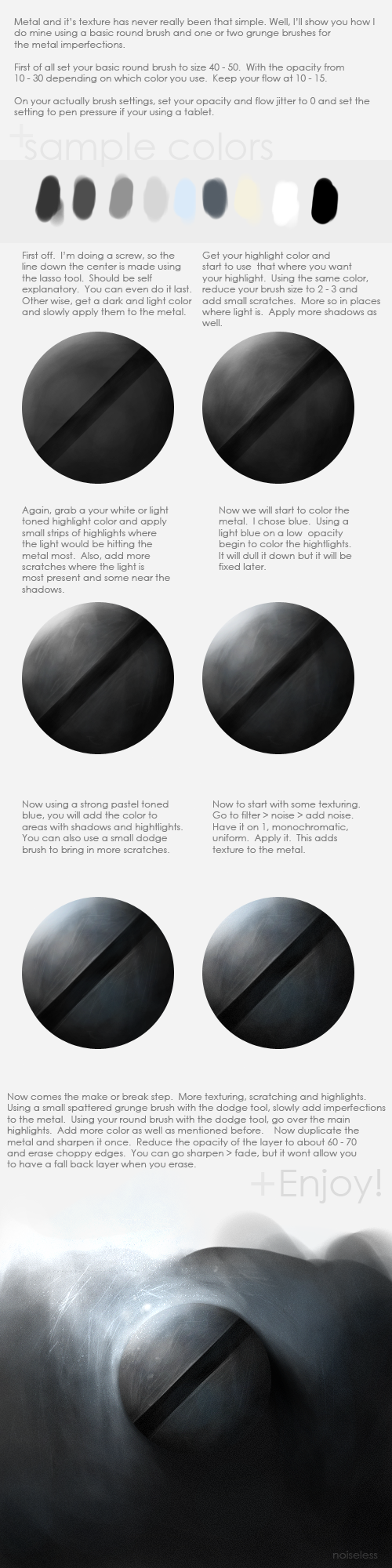 Texturing and Painting Metal by Noise-Less