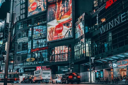 city full of ads