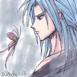 blue haired man by kotenka1984