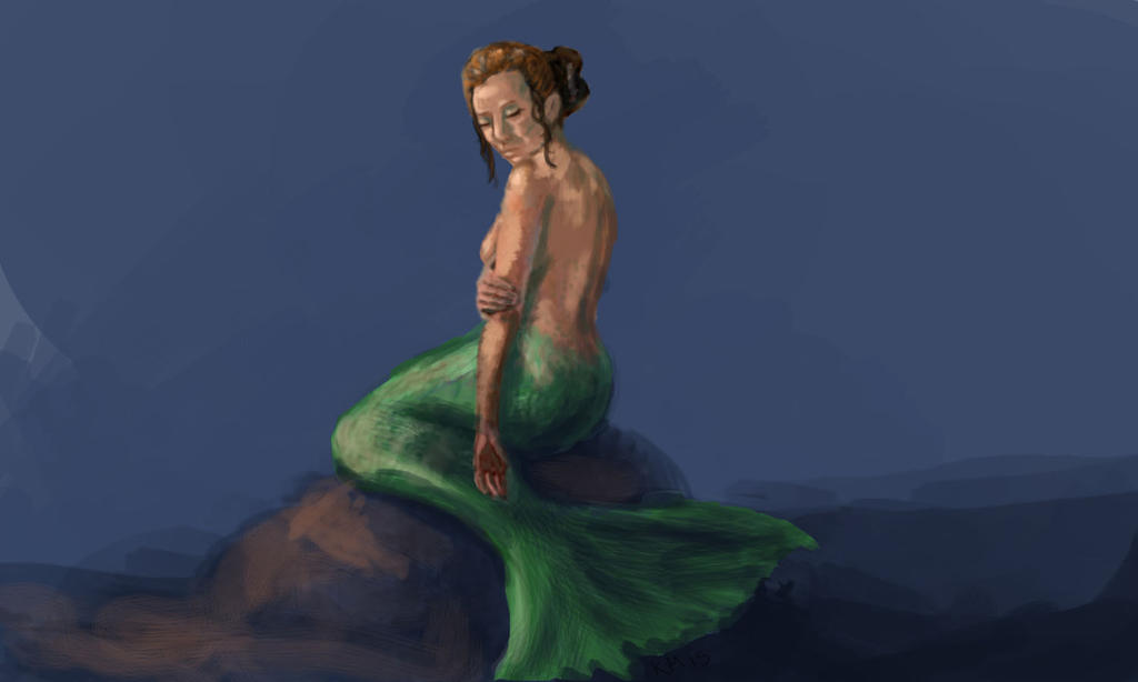 Mermaid On Rock by clarinetplayer
