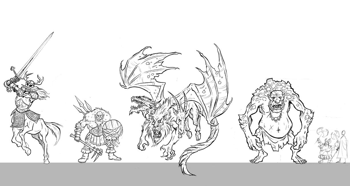 Fantasy Monsters Concept Art by NikosBoukouvalas