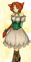Neko Girl Full Color Sketch by Devangelic