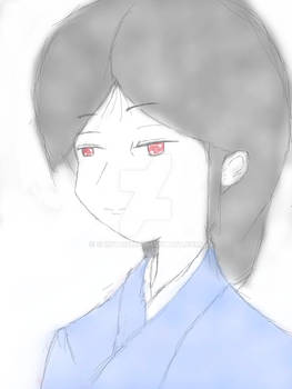 Black Hair Kimono with Basic Colour Blue