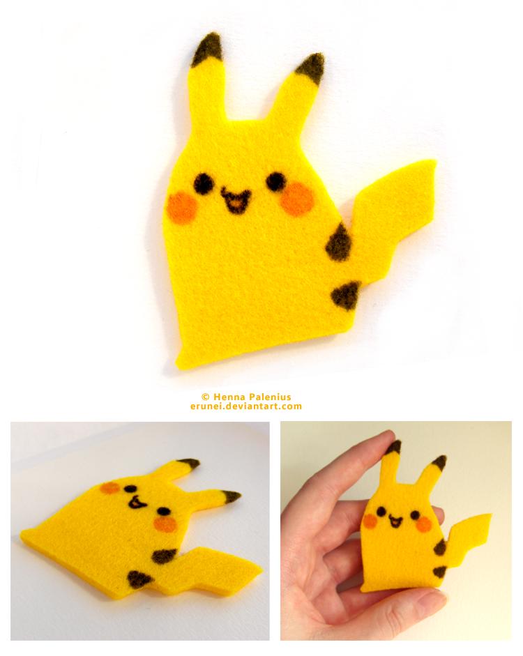 Felt Pikachu 02 by Erunei