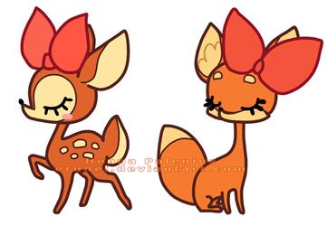Little miss Deer and Fox by Erunei