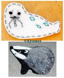 Felt seal and badger by Erunei