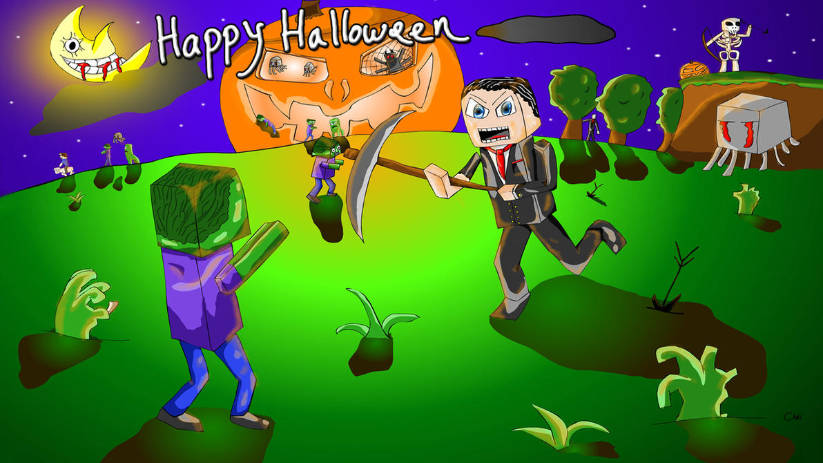 Minecraft Themed Happy Halloween Card By Skuromatter On Deviantart