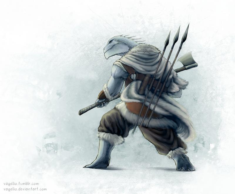 Dragonborn Barbarian by Vagelio