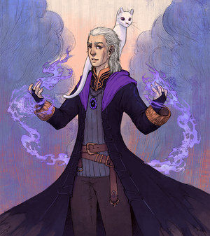 A spellcaster and his familiar