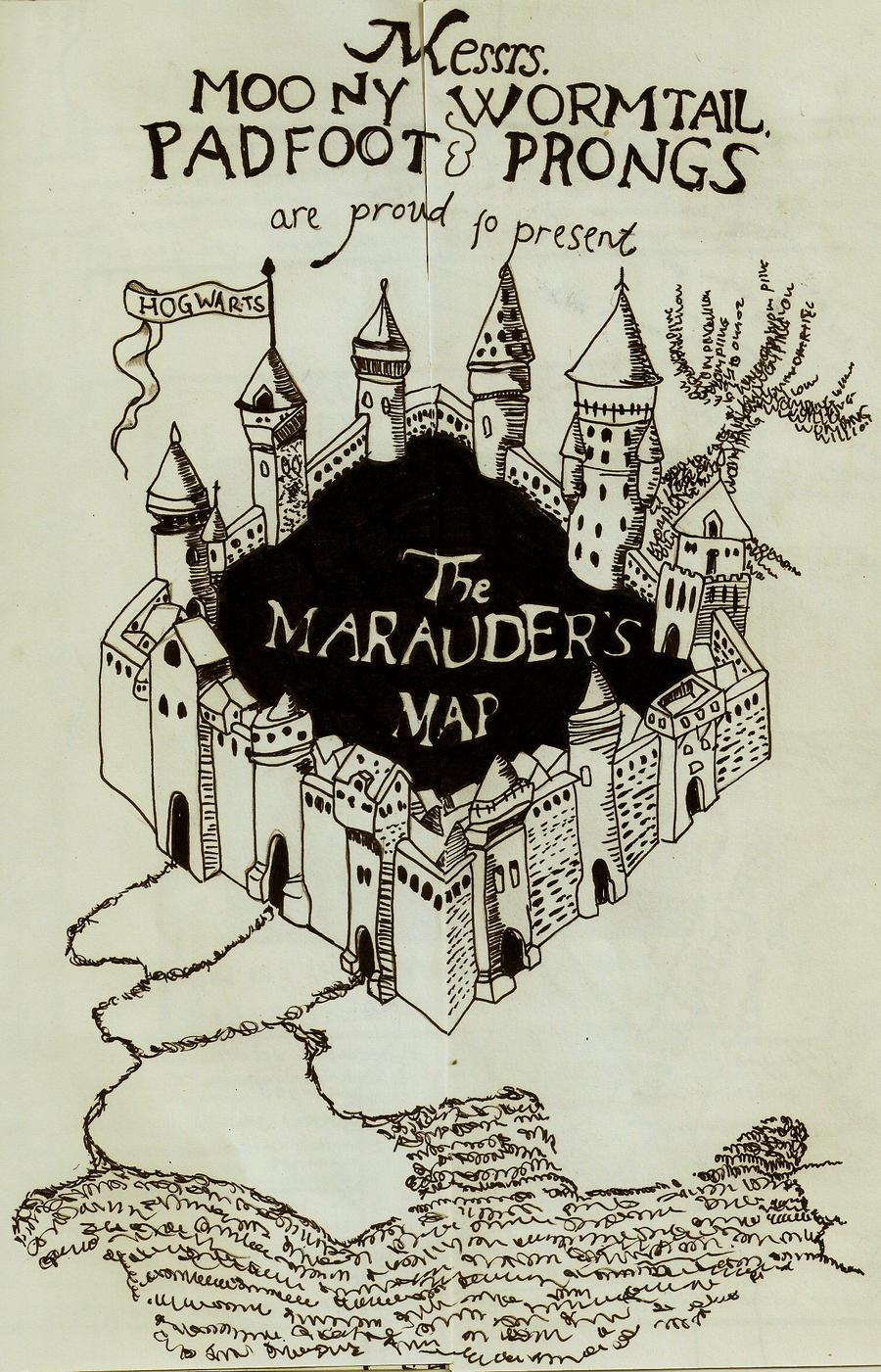My handmade marauders map from Harry Potter - YouTube |Marauders Map Drawing