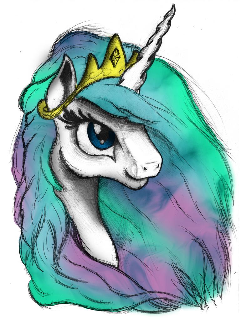 Celestia Portrait Sketch - Colored by AncientOwl